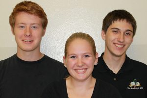 Jeremiah Paden, Technical Apprentice; Emily Warren, Stage Management Apprentice; Eli Ramsour, Technical Apprentice